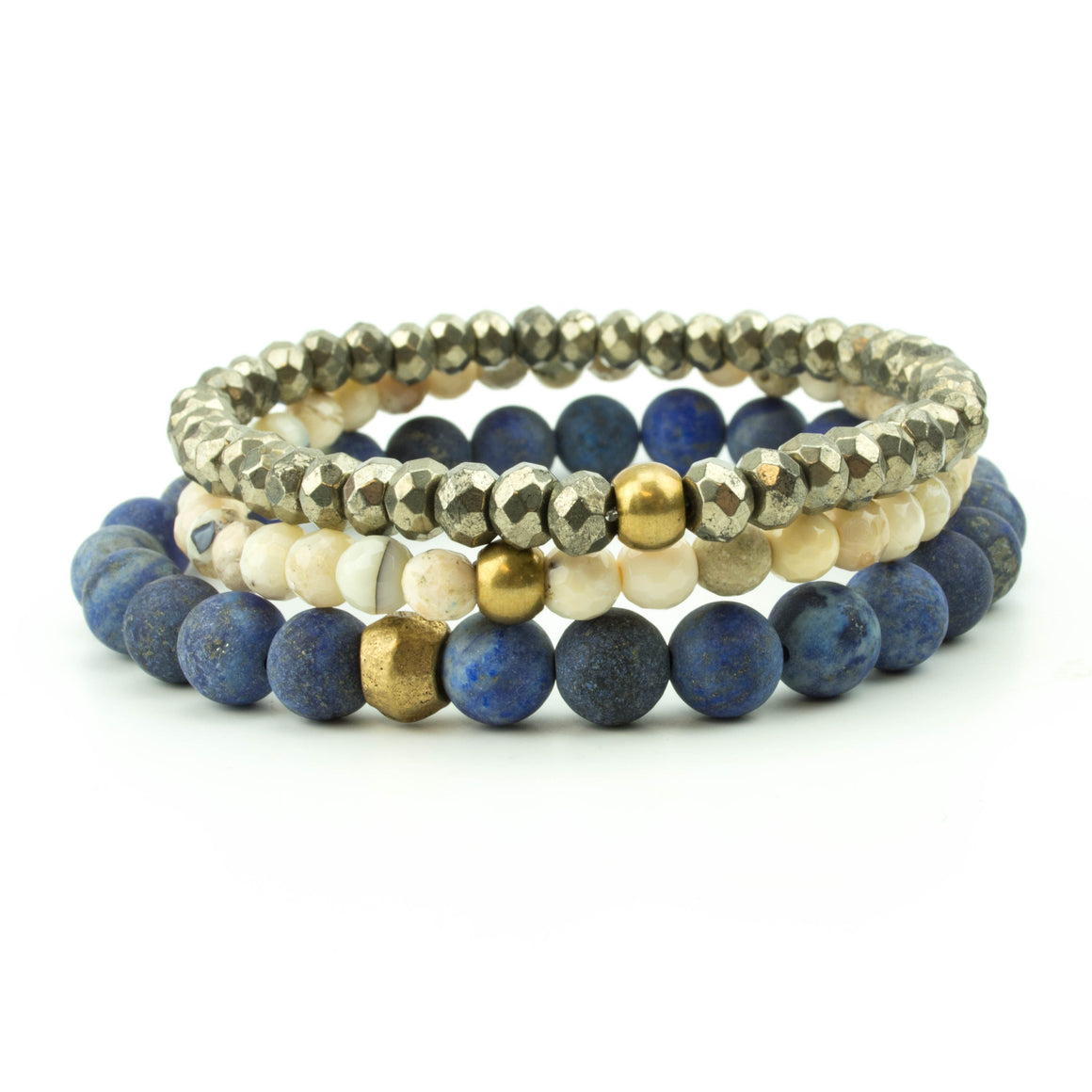 Men's stretch bracelet stack with pyrite, bone, lapis.