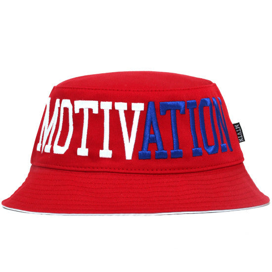 Split Logo Bucket Hat Red