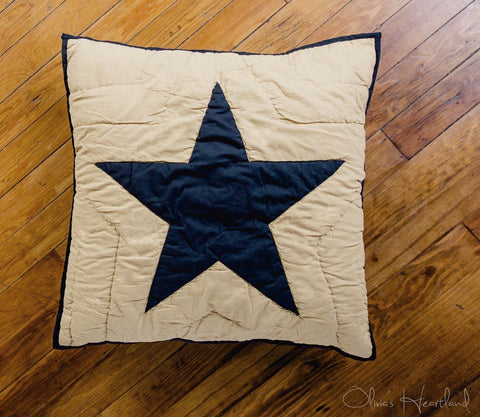 Black and Tan Quilted Star Euro Sham