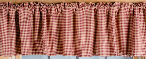 Burgundy and Tan Checkered Valance