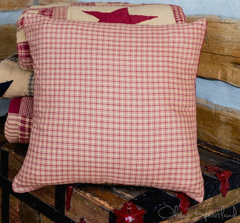 Colonial Star Burgundy and Tan Fabric Checkered Pillow