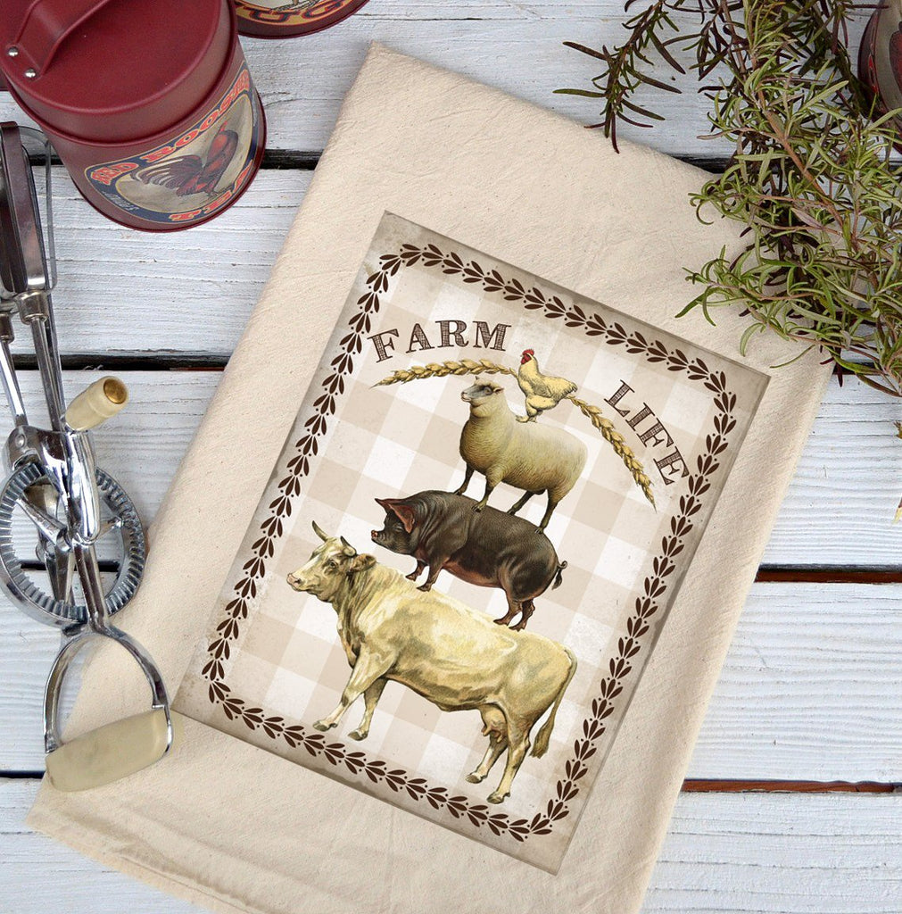 Farmhouse Natural Flour Sack Farm Life Stack Color Country Kitchen Towel
