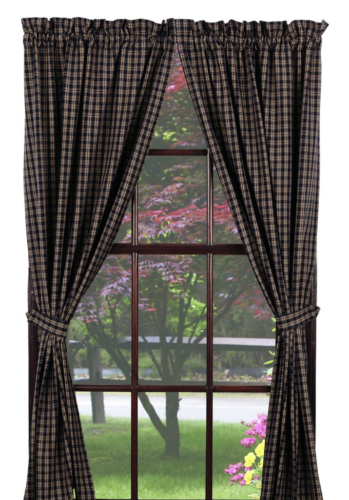 Cambridge Navy Panel Window Curtains Pair -72x84 total - 2 inch rod pocket