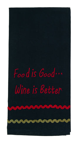 "Bramble ""Food Is Good... Wine - Burgundy Is Better""Embroidered Dishtowel - Country Farmhouse Kitchen Funny Dish Towels"