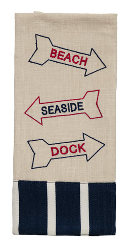 Anchor Beach Sign Dishtowel - Country Farmhouse Kitchen Dish Towels