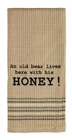 An Old Bear Dishtowel - Country Farmhouse Kitchen Funny Dish Towels
