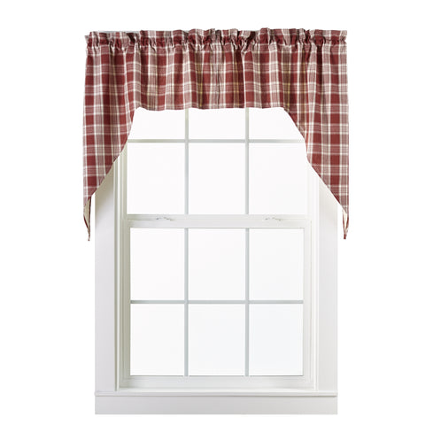 Barnyard Swag Set Window Curtains Pair - 72x36 total - 2 inch rod pocket