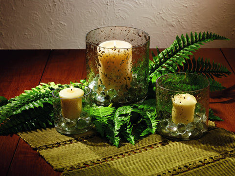 Bubble Glass Vintage Candle Holder for Pillar and Votive Candle or Votive - Set of 3