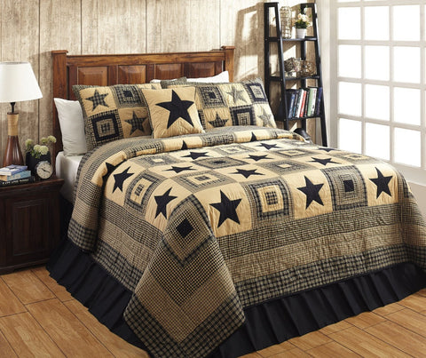 Colonial Star Black and Tan Primitive Country Quilt Set - 3 Piece (King (3 pc))