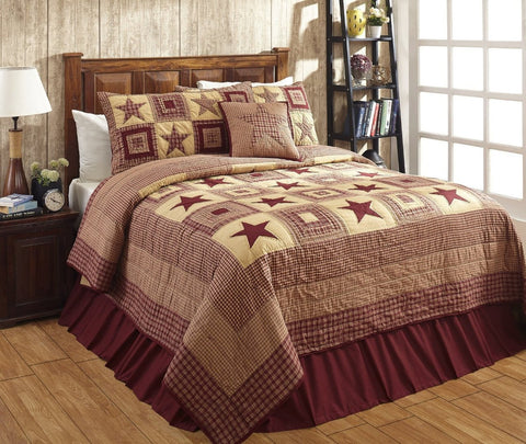 Colonial Star Burgundy and Tan Primitive Country Quilt Set - 3 Piece (California King (3 pc))