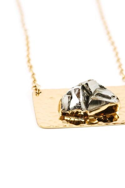 Raw Pyrite//Gold Bar Necklace