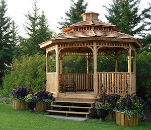 hexagon gazebo with optional two tier roof and cupola