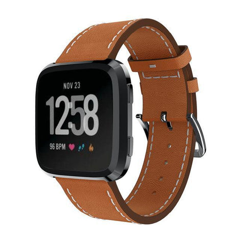 Leather Strap for Fitbit Versa - Brown