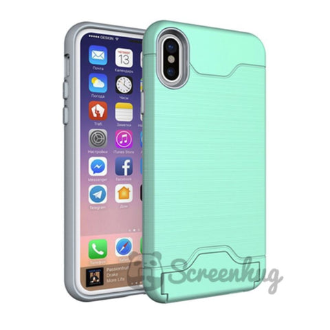 Metallic Flip Card case for iPhone X / XS - Aqua Green