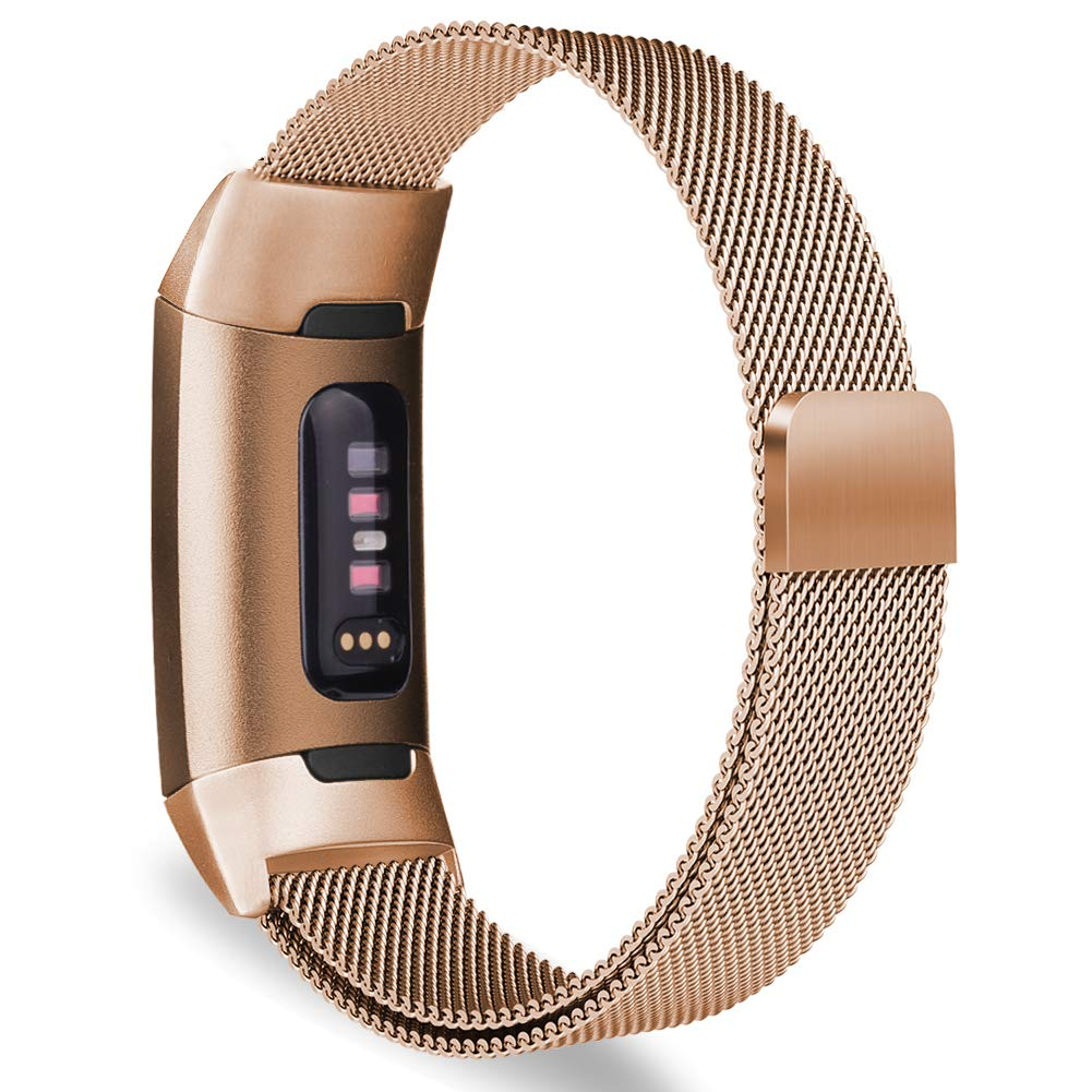 Milanese Metal Strap for Fitbit Charge 3 - Rose Gold - screenhug