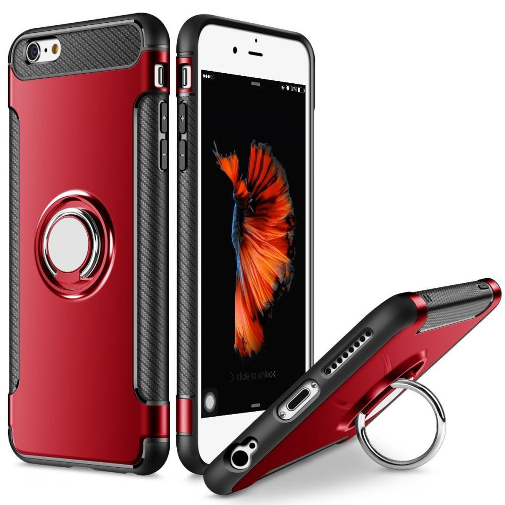 Tough Ring Carbon for iPhone 6/6S case - Red - screenhug