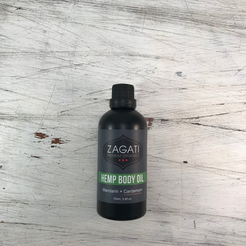 ZAGATI - HEMP BODY OIL + MANDARIN and CARDAMOM 100ml. CERTIFIED ORGANIC