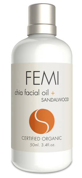 FEMI - FACIAL OIL + SANDALWOOD 50ml. (CERAMIC BOTTLE) CERTIFIED ORGANIC