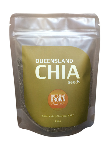 AUSTRALIAN GROWN NATURALS - CHIA SEEDS 250g (GROWN IN NORTH QUEENSLAND, AUSTRALIA) INSECTICIDE & CHEMICAL RESIDUE FREE