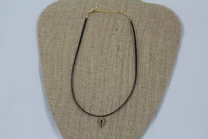 Cord Choker with Gold Horn - My Pink Hanger
