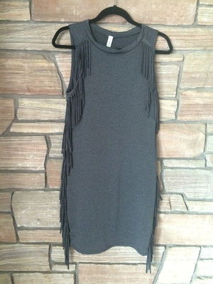 Fringe Gray Dress - My Pink Hanger