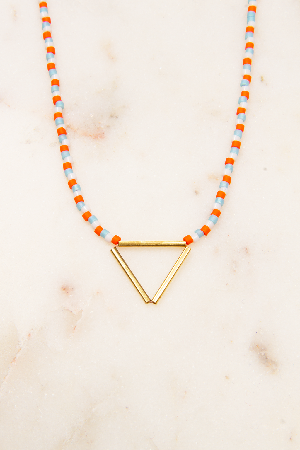 Beaded Necklace with Brass Triangle