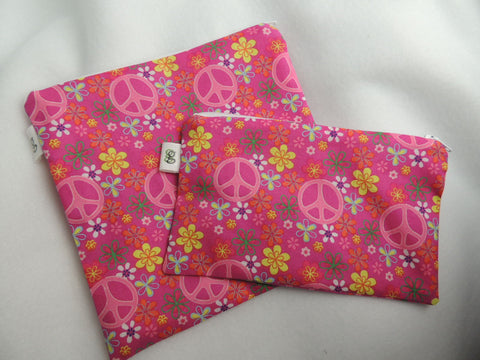 Reusable Zipper Sandwich & Snack Bags BPA Free Eco Friendly Set of 2 Pink Peace Sign print - groovygurls