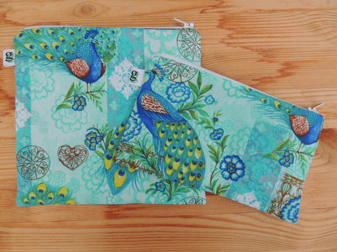 Reusable Zipper Sandwich & Snack Bags BPA Free Eco Friendly Set of 2 Peacock Blue and Green Print - groovygurls