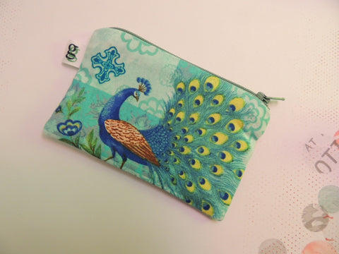 Padded Zippered Pouch purse Gadget Coin /accessory Case - Peacock green and blue print - groovygurls