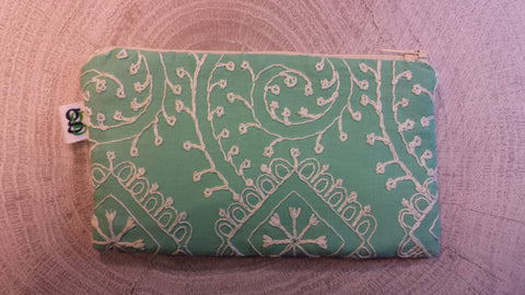 Padded Zippered Pouch purse Gadget Coin /accessory Case - Upcycled green print - groovygurls