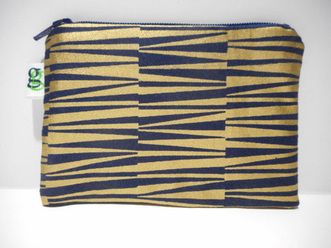 Padded Zip Pouch purse Gadget Coin Case - Midnight Blue and Gold print - groovygurls