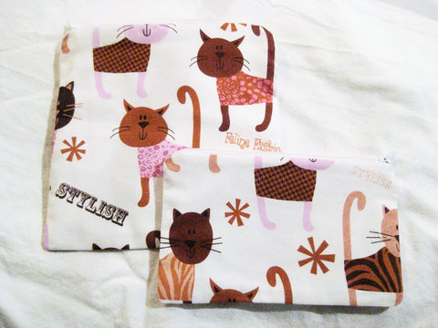 Reusable Zipper Sandwich & Snack Bags Eco Friendly Set of 2 Feline cat dressed up print sku 1026 - groovygurls