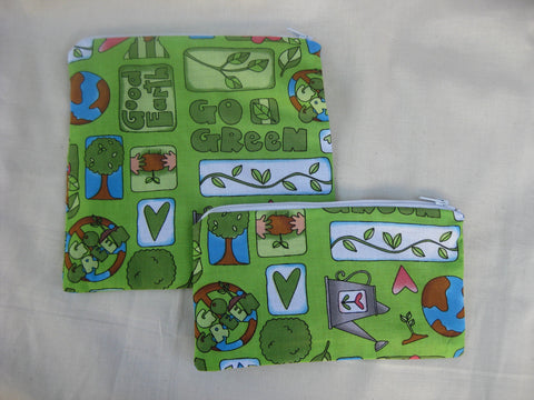 Reusable Zipper Sandwich & Snack Bags BPA Free Eco Friendly Back to School Set of 2 Go Green Save the Planet Earth Recycling - groovygurls