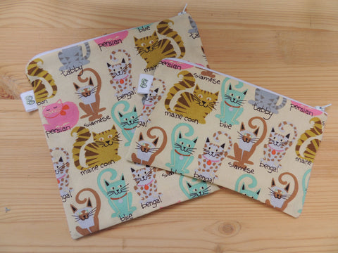 Reusable Zipper Sandwich & Snack Bags BPA Free Eco Friendly Cat lovers Set of 2 siamese tabby persian cat kitten print sku 1011 - groovygurls