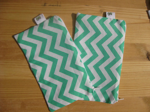 Reusable Zipper Snack Bags BPA Free Eco Friendly Set of 2 Green Chevron Print - groovygurls