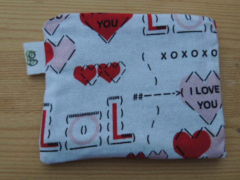 Padded Zip Pouch purse Gadget Coin Case - LOL Valentines day love - groovygurls