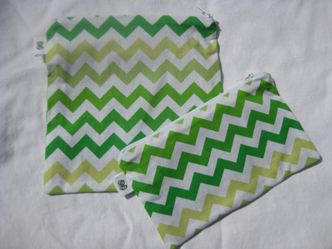 Reusable Zipper Sandwich & Snack Bags BPA Free Eco Friendly Set of 2 Multi Colored Chevron greens and y - groovygurls