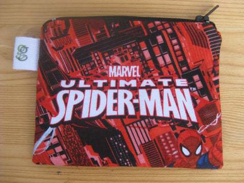 Padded Zip Pouch purse Gadget Coin Case - Ultimate Spider-man Spiderman Marvel Character print - groovygurls