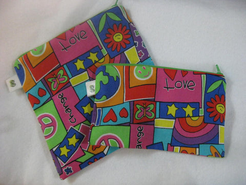 Reusable Zipper Sandwich & Snack Bags Eco Friendly Set of 2 Change Peace Hope Love Print sku 1022 - groovygurls