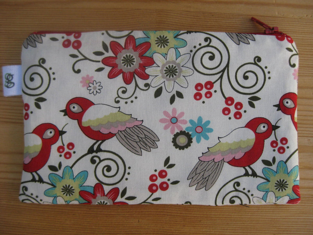 Love Birds and Flowers Print Zipper Pouch / Make Up Bag / Gadget Pouch Unique organizer - groovygurls