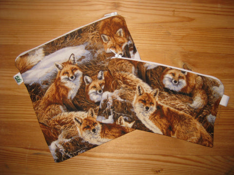 Reusable Zipper Sandwich & Snack Bags Eco Friendly Set of 2 Foxes Fox Animal Print - groovygurls