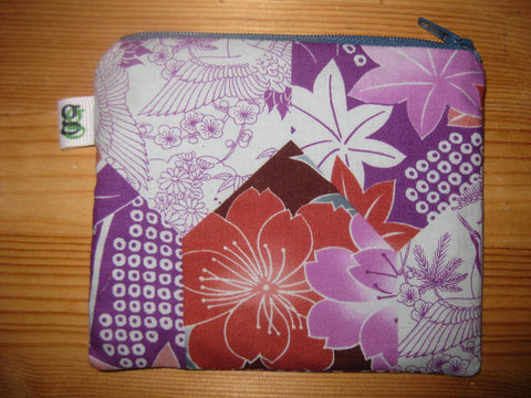 Padded Zip Pouch purse Gadget Coin Case - Purple and Pink Cherry Blossoms print - groovygurls