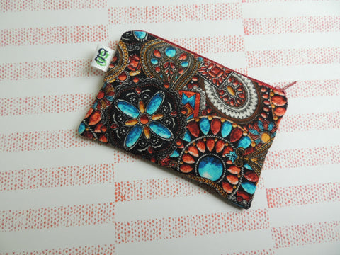 Padded Zip Pouch purse Gadget Coin Case - Southwestern turquoise print - groovygurls
