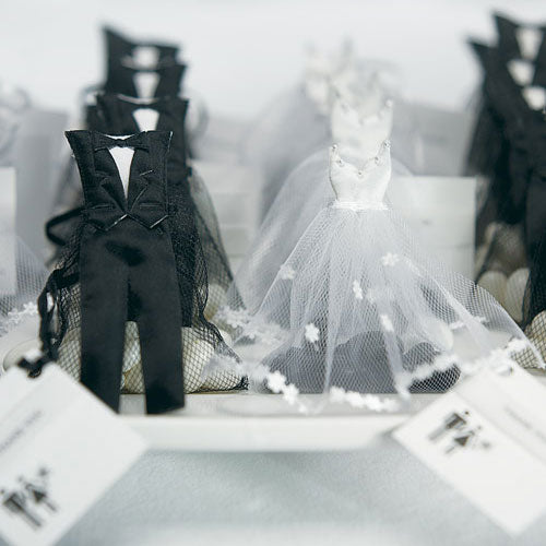 White Wedding Dress And Tuxedo Organza Favor Bags-Wedding Favors & Favor Holders-Wedding Star-Sweet Heart Details