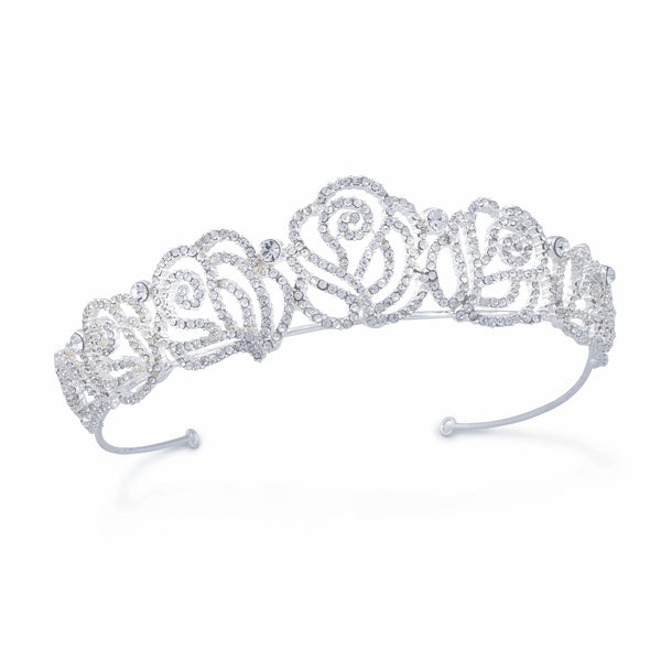"""The Belle"" Fairytale Crystal Encrusted Rose Tiara (July)-Tiaras & Headbands-Wedding Factory-Sweet Heart Details"