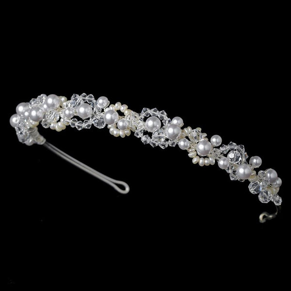 """The Joslyn"" Swarovski & Pearl Bridal Headpiece-Tiaras & Headbands-Wedding Factory-Sweet Heart Details"
