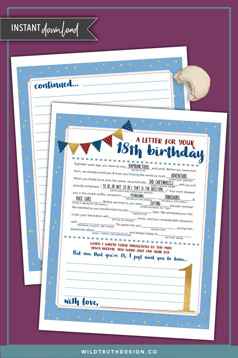 Boys First Birthday Time Capsule Letter Mad Lib