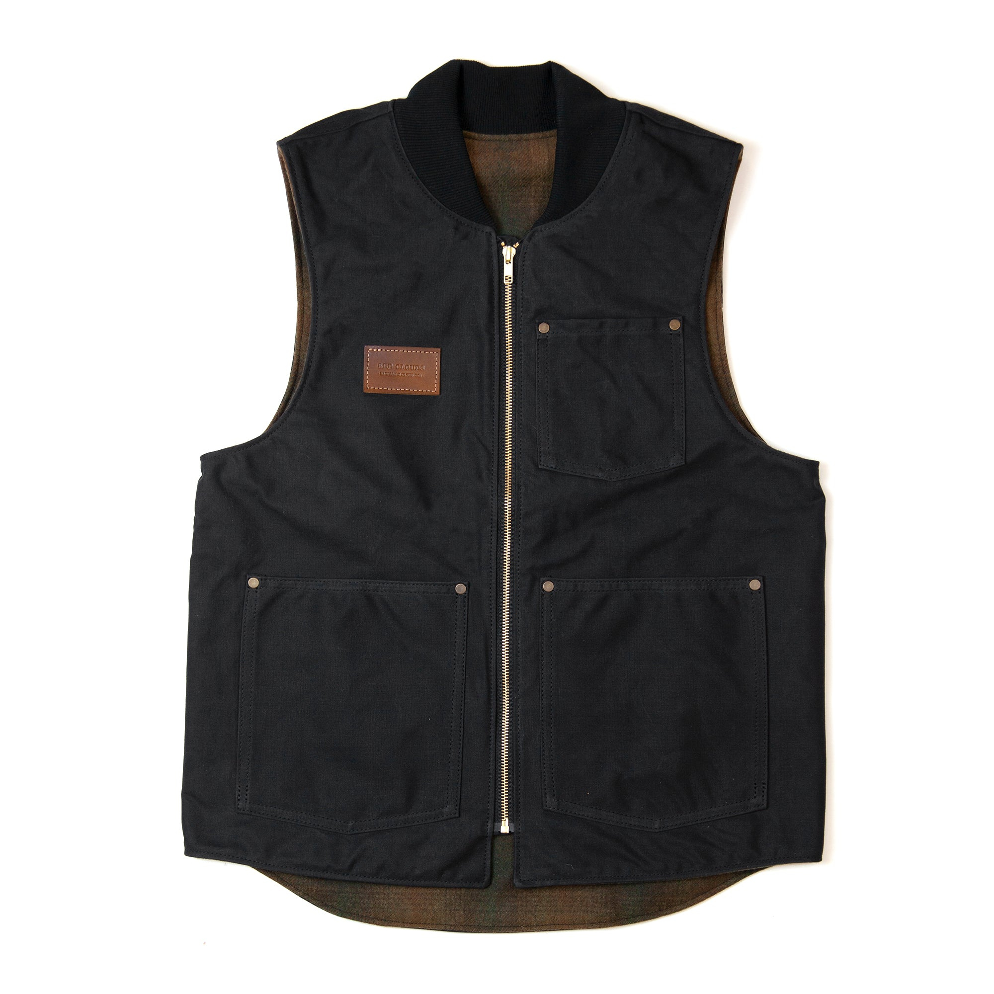 Black vest, Work vest, waxed vest, red clouds collective, moto vest, best best, riding vest, heavy duty vest, durable vest, wool vest, durable, made in usa, made in america, quality vest