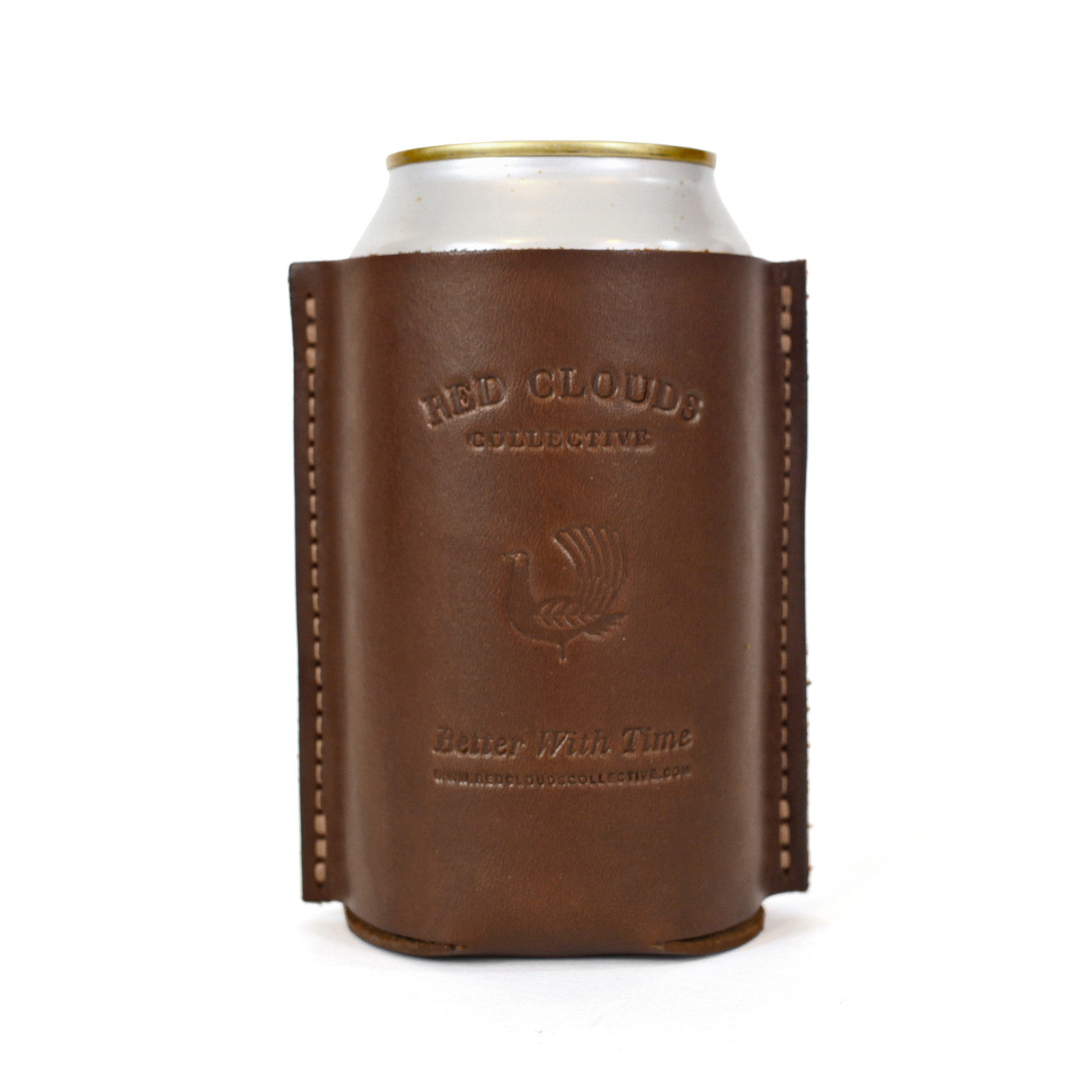 leather koozie, leather can, leather coozie, coaster, leather beer holder, leather bottle koozie, made in usa, walnut leather