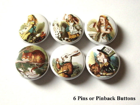 Cute Alice PINBACK BUTTONS pins badges mad hatter chesire cat-Art Altered